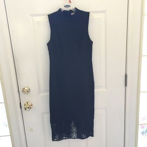 F21 NWOT Midi Black Dress with Lace Detail